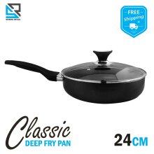 Aluminium Non Stick Frying Pan Dishwasher Safe With Lid Black 24 Cm