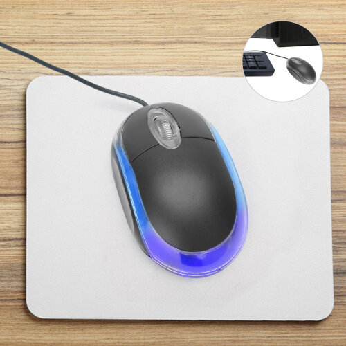Wired USB optical mouse for PC laptop scroll wheel-black mouse