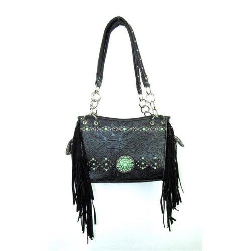 Savana No.CST-893 BK Ladies Faux Leather Tooled Satchel Handbag, Black