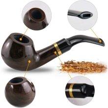 Wooden Tobacco Smoking Pipe Set Bent Ebony Smoking Pipe New