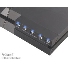 PS4 USB Hub 3.0 - ElecGear 5-port USB 3.0 Extension Adapter with LED indicator for PSVR Headset, Controller, Hard Drive Storage, Charger Extender...