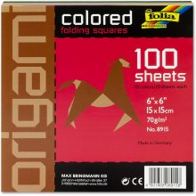 Global Art Folia Solid Origami Paper x 6-inch 100/Pkg-Assorted Colors, 6 Inches