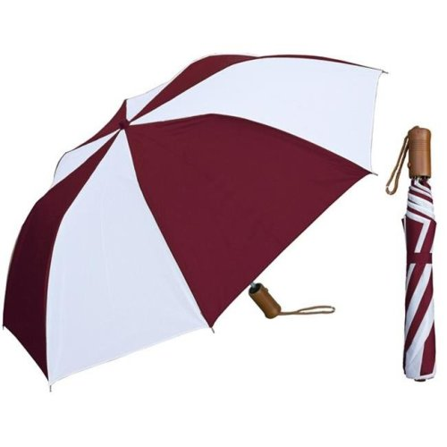 RainStoppers W002BGW-W 42 in. Auto Open Deluxe Burgundy & White Umbrella with Wood Handle, 6 Piece
