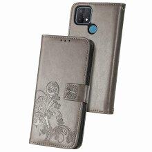 OPPO A15 Case Premium PU Leather Folio Cover Magnetic Gray