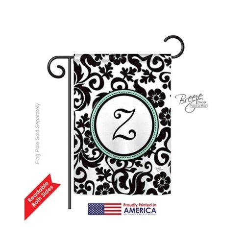 Breeze Decor 80078 Damask Z Monogram 2-Sided Impression Garden Flag - 13 x 18.5 in.