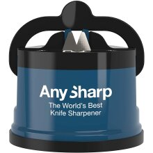 AnySharp World's Best Knife Sharpener with PowerGrip, Blue