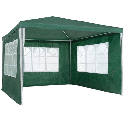 tectake Gazebo 3x3m with 3 side panels - garden gazebo, gazebo with sides, camping gazebo - green