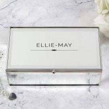 Personalised Mirrored Jewellery Box Birthday Mum Mother's Day Sister