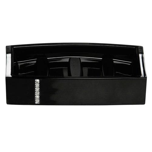 Acrylic Soap Dish with Diamante Detail - Black