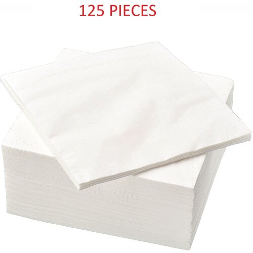 White Napkins 125 Pack Paper Disposable Guest Soft Absorbent (30 cm)