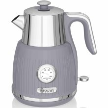 1.5L Retro Kettle with Temperature Dial - Grey