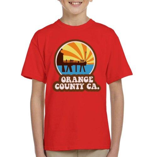 (X-Small (3-4 yrs), Red) Orange County CA Retro Kid's T-Shirt