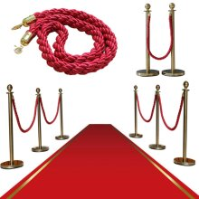 2PCS Polished Steel Queue Rope Barrier Posts Stands Twisted Stanchions