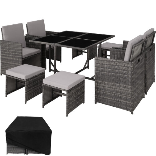 Rattan garden furniture set Bilbao 4+4+1 with protective cover, variant 2 - grey