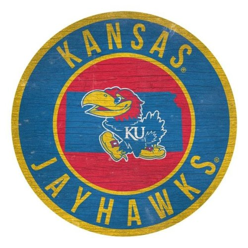 Fan Creations 7846020163 Kansas Jayhawks Sign Wood 12 in. Round State Design