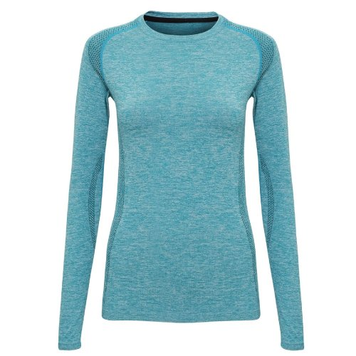 (M, Turquoise) TriDri Womens/Ladies Seamless 3D Fit Multi Sport Performance Long Sleeve Top