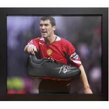 Framed Roy Keane signed Adidas boot with COA & proof