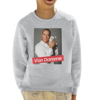 Jean Claude Van Damme And Chihuahua Dog Supreme Kid's Sweatshirt