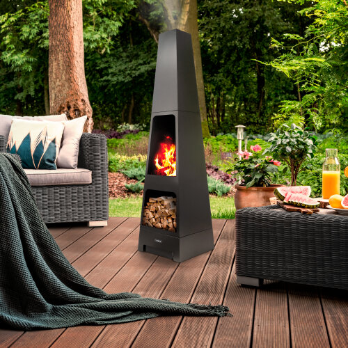 Obelisk Outdoor Wood Burner Garden/Patio Heater Fire Pit Log Storage