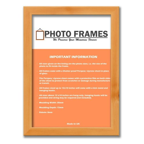 (Pine, A4- 297x210mm) Picture Photo Frames Flat Wooden Effect Photo Frames