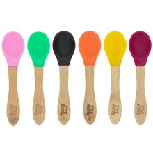 Children's Bamboo Spoons Soft Tip Silicone Infants Kids Spoon Set - x6