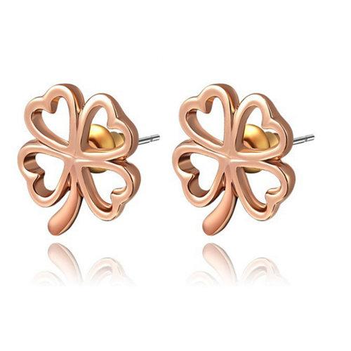 Pretty Flower Rose Gold Plated Stud Earrings