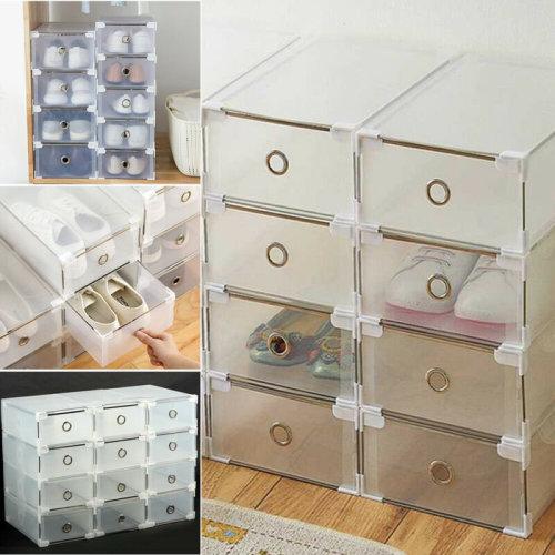 8 Plastic Drawer Shoe Home Storage Box Stackable Organiser Transparent Foldable
