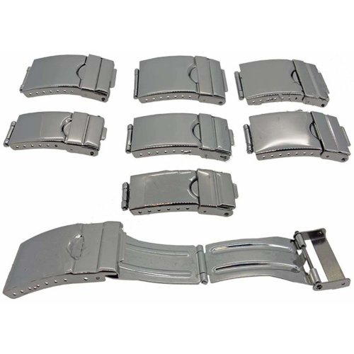 Watch Strap Clasp 3 Fold Adjustable Safety Stainless Steel Mirror Finish