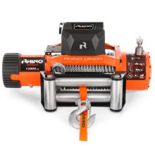 Rhino Electric Winch 12V 13500lbs / 6125Kg 26m Steel Cable Heavy Duty Reinforced Recovery Winch Including Fairlead Roller & Wireless Remotes