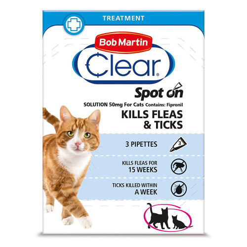 (Single Pack (3 Pipettes)) Bob Martin Clear Spot On Cat Fipronil Flea & Tick Treatment