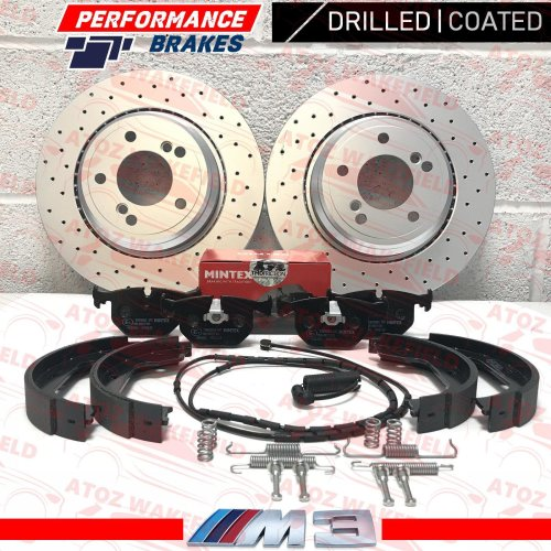 FOR BMW M3 3.2 E46 COUPE CONVERTIBLE DRILLED REAR BRAKE DISCS PADS WIRES SHOES