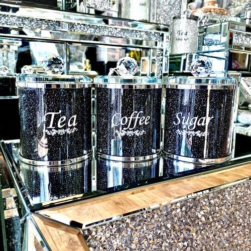 Crushed Diamond Tea Coffee Sugar CANISTERS Jars Storage Black Crystal