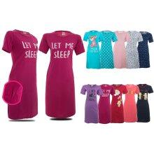 Nighties for Women Cotton Round Neck Short Sleeves