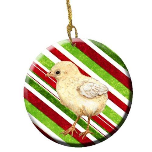 Baby Chick Candy Cane Holiday Christmas Ceramic Ornament, 2.81 Dia