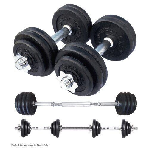 Body Revolution 15kg Cast Iron Dumbbell Set with Barbell link