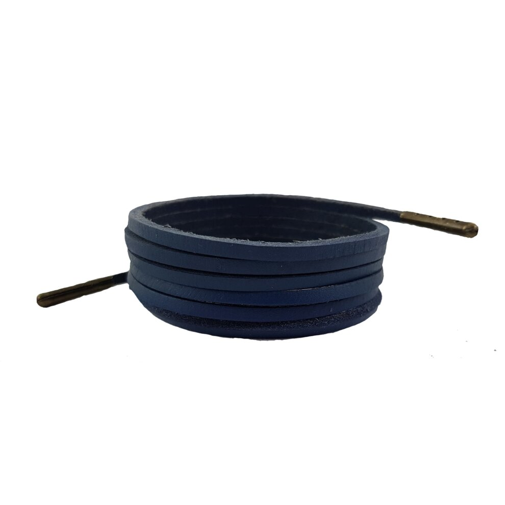 Navy leather laces deluxe 3 mm Square
