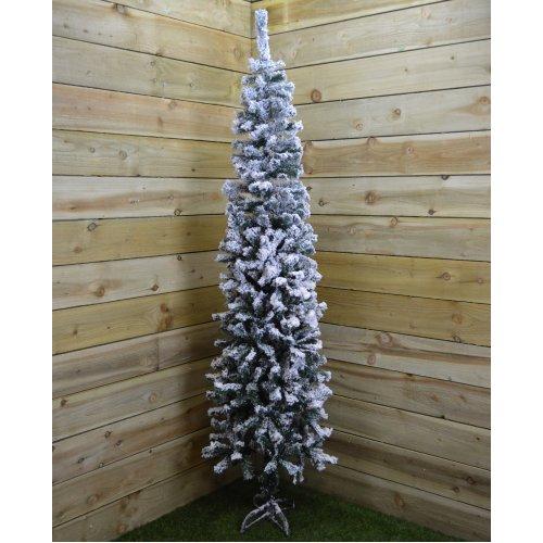 2m (6.5ft) Premier Snow Flocked Spruce Pine Slim Christmas Tree in Green