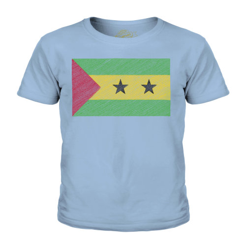 (Sky Blue, 3-4 Years) Candymix - Sao Tome E Principe Scribble Flag - Unisex Kid's T-Shirt