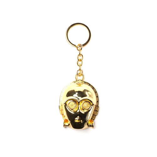 STAR WARS C-3PO 3D Pendant Metal Keychain, One Size, Gold (KE131001STW)