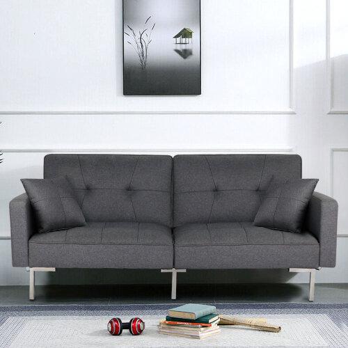 Luxury Dark Grey 3-Seater Reclining Sofa Bed