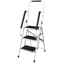 3 Step Ladder Portable Folding  ladder Anti-Slip with Safety Hand Rail