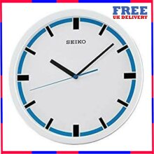 Seiko Wall Clock Round White and Blue Dial Wall Clock With Black Hour Markers