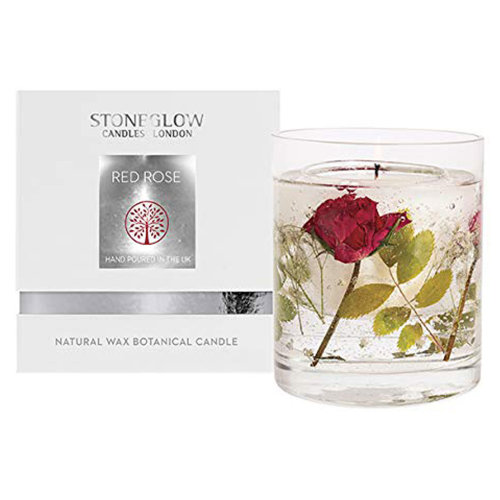 Stoneglow Nature's Gift Natural Wax Gel Candle Valentines Red Rose