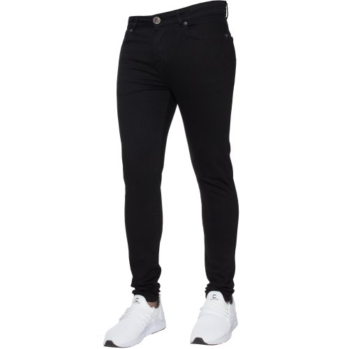 (Black, 34L) Ze Enzo Mens Skinny Jeans Slim Fit Super Stretch Denim Pants