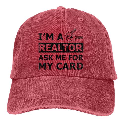 I'M A Real Estate Realtor Ask Me For My Card Denim Baseball Caps