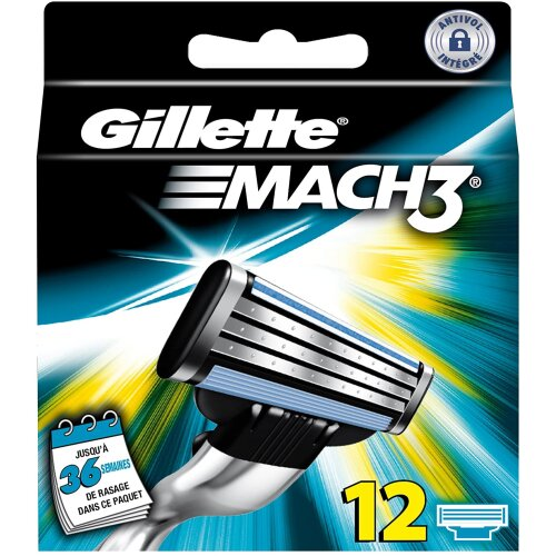 Gillette MACH3 Razor Blades Pack of 12 Refills
