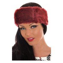 Burgundy Faux Fur Hatband