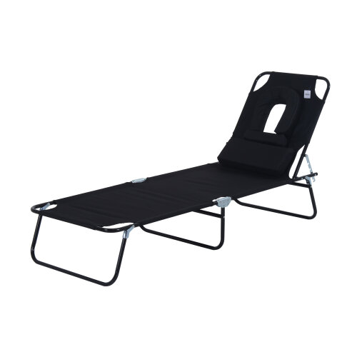 Outsunny Sun Lounger Reclining Folding Sunbed Chair Bed Head Rest Foldable Black