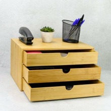 Bamboo Desktop 3 Drawer Wide Stand for Office Home
