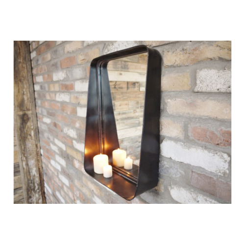 Industrial Wall Mirror With Shelf Display Black Metal Rectangle Frame